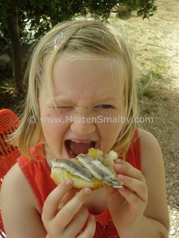 Ida und ein brot mit Sardinen